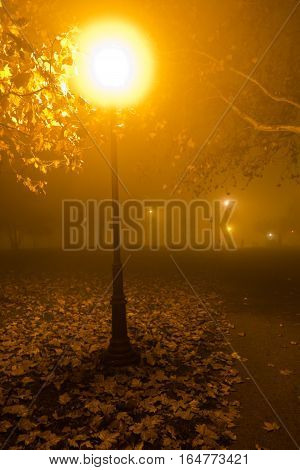 Old fashioned lantern at autumn evening in Kalemegdan park, Belgrade, Serbia