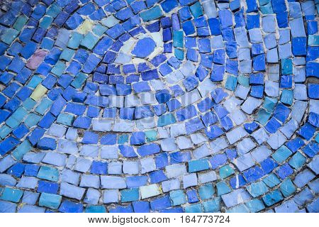 Mosaic tile background. Mosaic decoration in different colors. Abstract texture of byzantine smalt in old tradition.