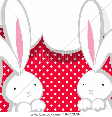 Two white cute rabbit with big ears pink nose, congratulates Easter, Birthday or other holiday. Pink halftone background. Vector festive hand drawn illustration. Comic bubble, empty balloon.