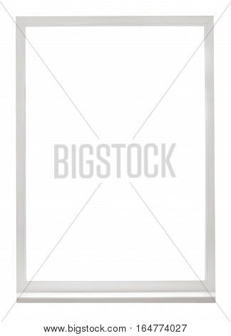 Frame of white plastic window isolated on white background