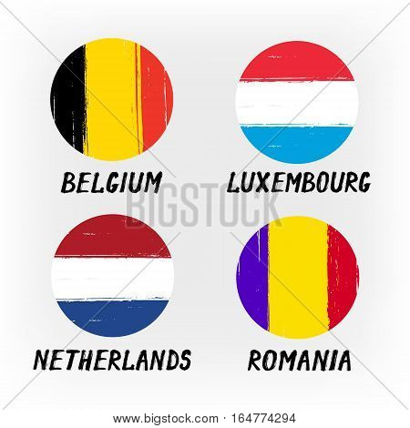 Set Of 4 Flags - Round Icons - Belgium Luxembourg Netherlands Romania