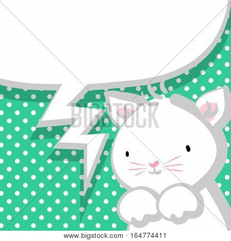 Vector festive hand drawn cat illustration. Comic bubble, empty balloon. White cute little kitty pink nose for baby. Aquamarine halftone background.