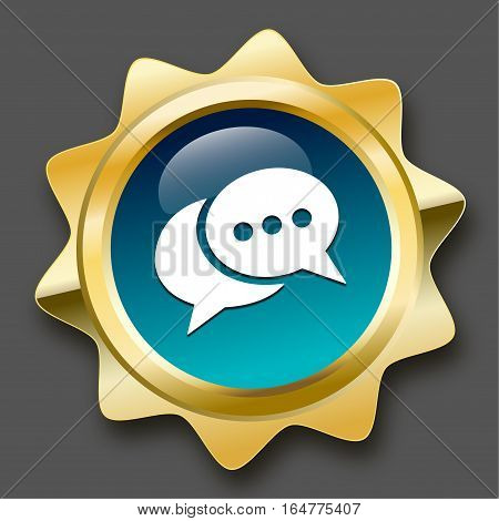 Messenger seal or icon with speech balloons symbol. Glossy golden seal or button.
