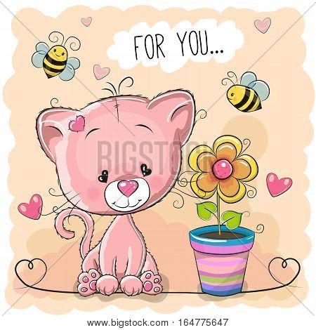 Greeting card cute cartoon Kitten with flower on orange background