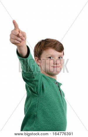 cute boy pointing isolated on white background