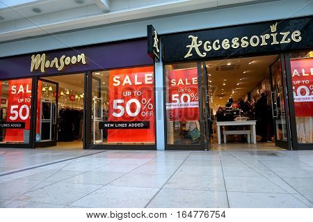 Basingstoke, Uk - January 04 2017: Shop Fronts Of Monsoon And Accessorize Fashion Stores With 50% Of