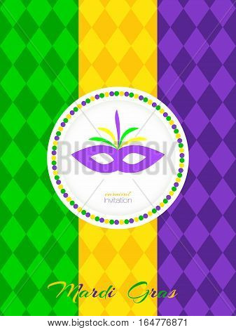 Invitation to the carnival Mardi Gras. Design congratulatory postcards, posters.