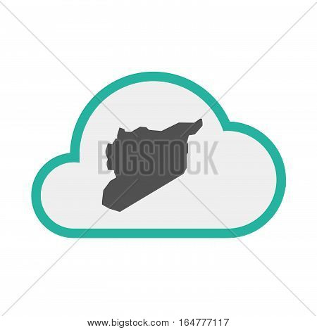 Isolated Cloud With  The Map Of Syria