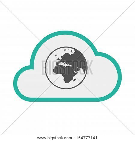 Isolated Cloud With   An Asia, Africa And Europe Regions World Globe