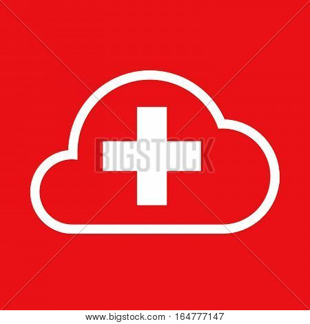 Isolated Cloud With   The Swiss Flag