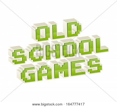 Old School Games text in style of old 8-bit video games. Vibrant 3D fun pixel letters. Vector illustration. Flyer poster template. Computer Program Screen