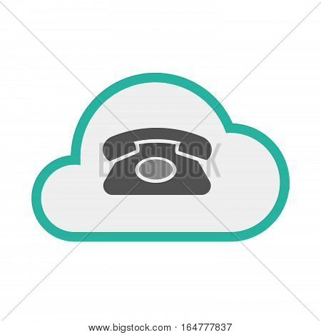 Isolated Cloud With  A Retro Telephone Sign