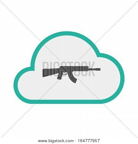 Isolated Cloud With  A Machine Gun Sign