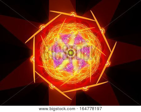 Colorful fiery magical mandala in space computer generated abstract background 3D render