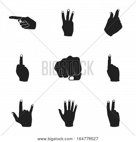 Hand gestures set icons in black style. Big collection of hand gestures vector symbol stock