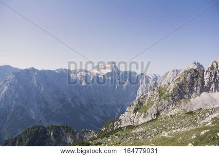 Panorama of beautiful snowy mountains, Julian Alps, Europe. Triglav the highest mountain in Slovenia and the highest peak of the Julian Alps.