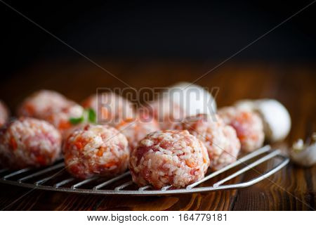 Raw Meatballs Tangled Meat With Carrots
