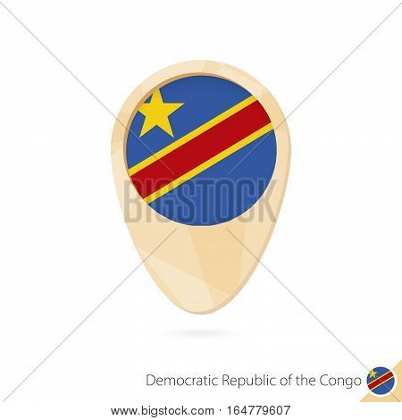 Map Pointer With Flag Of Democratic Republic Of The Congo. Orange Abstract Map Icon.