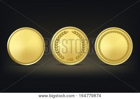 Golden award medals set on black background. Vector EPS10 illustration.