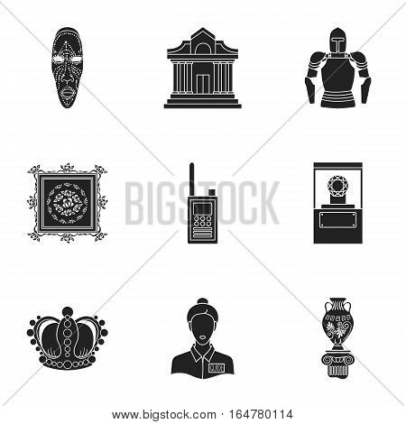 Museum set icons in black style. Big collection of museum vector symbol stock