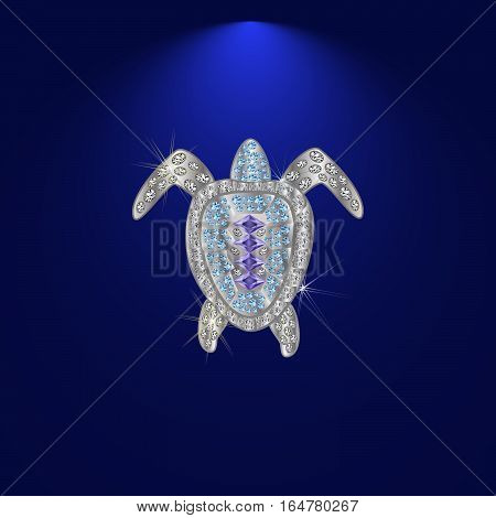 shiny luxury crystal sapphire galapagos tortoise with edges framed with golden wire