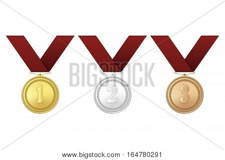Vector gold, silver and bronze award medals with red ribbons set isolated on white background. The first, second and third prizes. Vector EPS10 illustration.