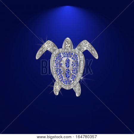 Turtle made of precious stones on a dark background with diamonds