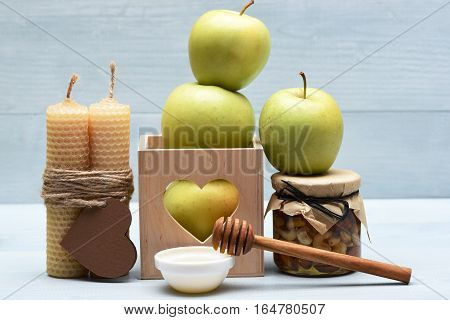 Valentine Decoration With Apples, Nuts And Honey