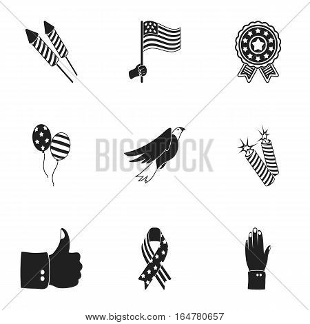 Patriot Day set icons in black style. Big collection of Patriot Day vector symbol stock
