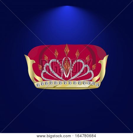 illustration of Royal gold crown with ornament and pearls
