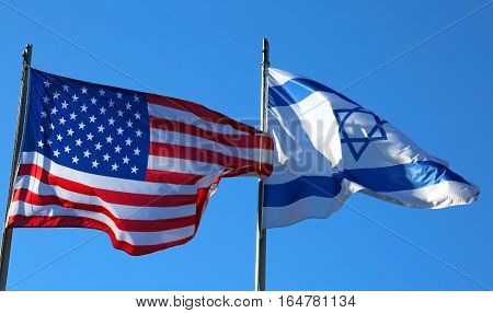 Blue Sky With American Flag And The Israeli Flag