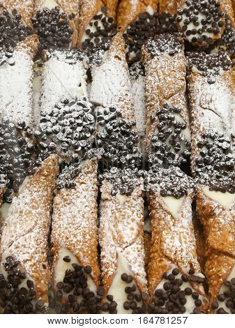 Sicilian Cannoli With Grated Chocolate And Cream