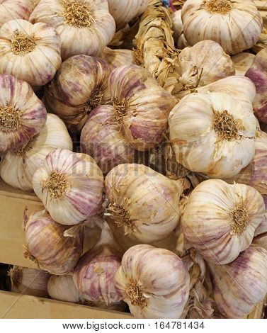 Many Cloves Of Garlic For Sale At The Greengrocer