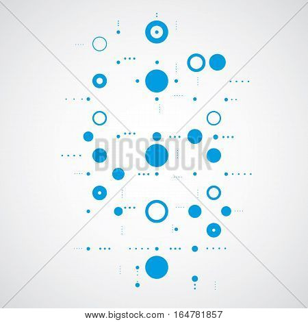 Vector abstract blue background created in Bauhaus retro style. Modern geometric composition can be used as templates and layouts.