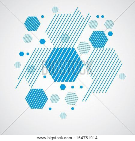 Vector Bauhaus abstract background made with grid and overlapping simple geometric elements circles and striped honeycombs. Retro artwork technology style graphic template for advertising poster.
