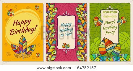 Set of greeting cards. Made in Corel. Present bright elements in the leaves of autumn theme. According Cetra is an invitation template for your text. Postcards bright and colorful. 3 pieces in one set. Happy Birthday. Invitation to a holiday party.