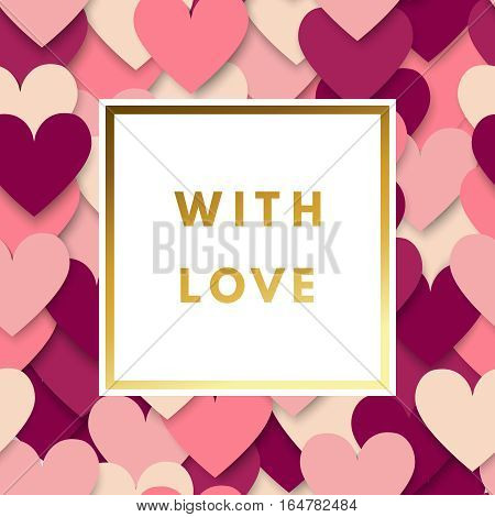 Romantic love creative, printable journaling, Valentine day greeting card. Gold minimal logo in frame on abstract background. Design for banner, poster, flyer, package template. Hello february