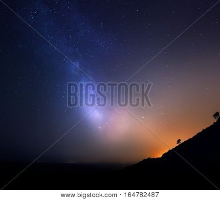 Sky with stars in night. Beautiful astro landscape.