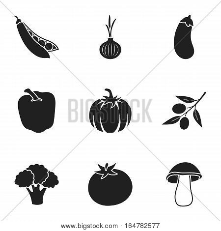 Vegetables set icons in black style. Big collection of vegetables vector symbol stock
