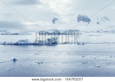 Low clouds over the mountains and chunks of ice floating of Port Lockroy research station Antarctica Polar