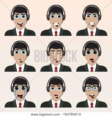 Set Of Cute Operator Emoticons.