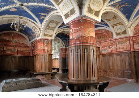 VILNIUS, LITHUANIA - DECEMBER 29, 2016: Vilnius University - Petras Repsys frescoes