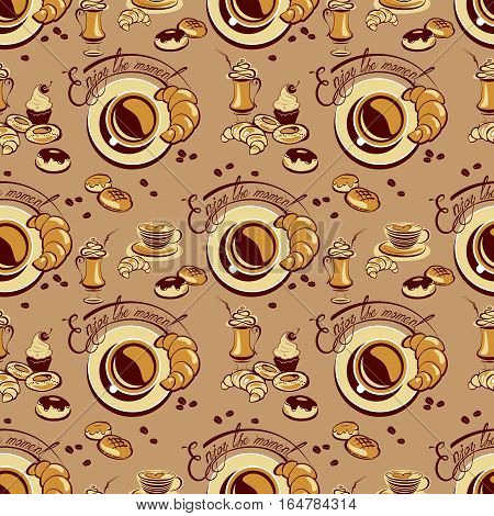 Seamless pattern with coffee cups beans cakes sweets croissant donut calligraphic hand written text Enjoy the moment. Background design for cafe or restaurant menu.