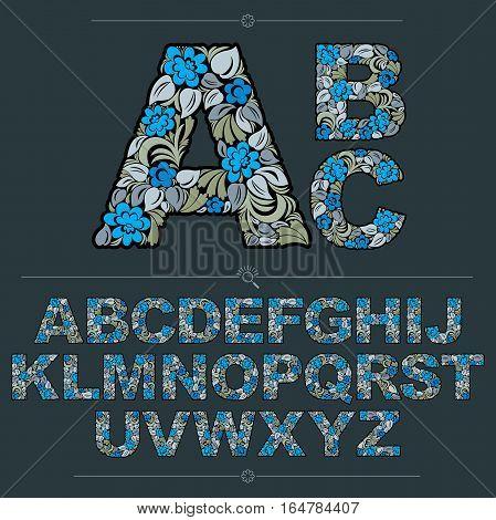 Floral Alphabet Sans Serif Letters Drawn Using Abstract Vintage Pattern, Spring Leaves Design. Blue