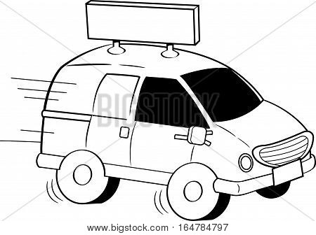 Black and white illustration of a van with a sign.