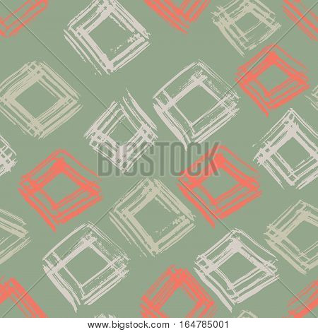 Hand drawn vector seamless pattern. Grunge abstract background. Repeating green and red geometric dry brush texture. Vector illustration