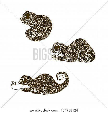 vector illustration silhouette of chameleon. Set of chameleons made in one color under the stencil