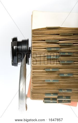 Retro Rotary Card File Close-Up