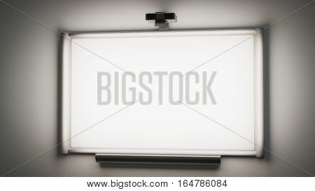interactive whiteboard with a multimedia projector 3d illustration with copy space