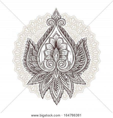 Ornamental hand drawn sketch ethnic decorative flower. Vintage tattoo in bohemian style. Yoga, magic, boho, t-shirt print vector illustration.